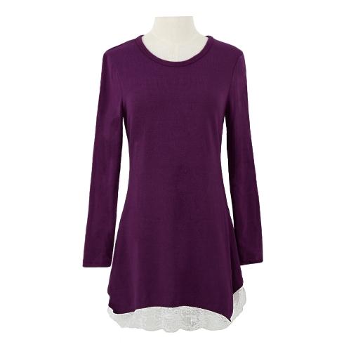 Nuevos dulces tapas las mujeres Mini vestido encaje dobladillo elástico Jersey camisa larga Swing vestido Casual