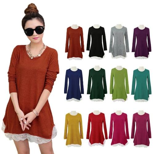 New Sweet Women Mini Dress Lace Hem Stretchy Jersey Long Shirt Swing Dress Casual Tops