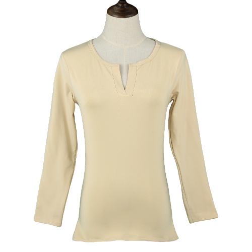 Nueva moda mujer camiseta Stretch con cuello en v manga larga forrado blusa Casual sólido Jersey Tee Tops