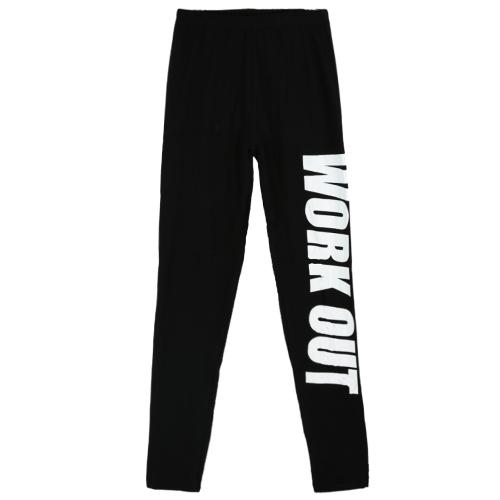 Mujeres sexy Slim polainas carta impresión elástico cintura deporte Yoga Fitness Casual lápiz flaco pantalones pantalones