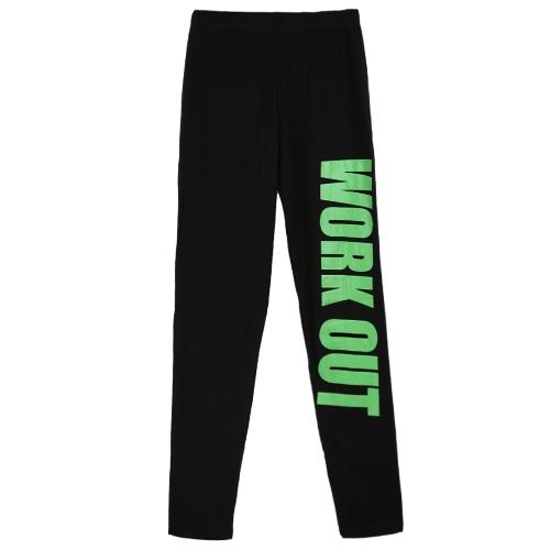 Sexy Women Slim Leggings Letter Print Elastic Waist Sport Yoga Casual Fitness Skinny Pencil Pants Trousers