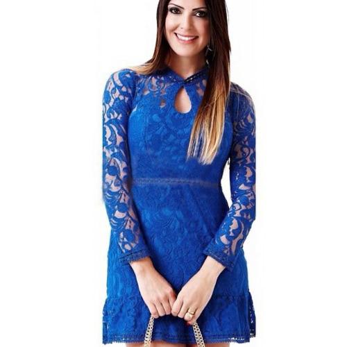 Mode Frauen Spitze Kleid Schlüsselloch geschnitten Reissverschluss zurück Langarm Cocktail-Abend Party Kleid Rosa/Rose/blau