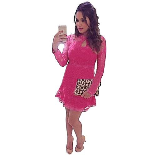 ファッションの女性レース ドレス鍵穴カット ジッパー バック長袖カクテル イブニング パーティー ドレス ピンク/ローズ/ブルー