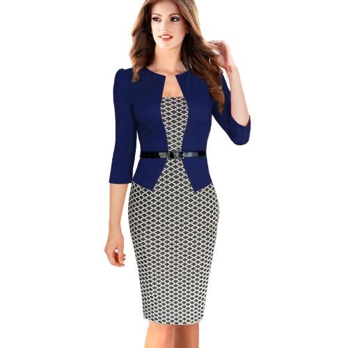 Nuevo las mujeres vestido Bodycon Check Patchwork cóctel OL trabajo lápiz vestido con cinturón azul de noche