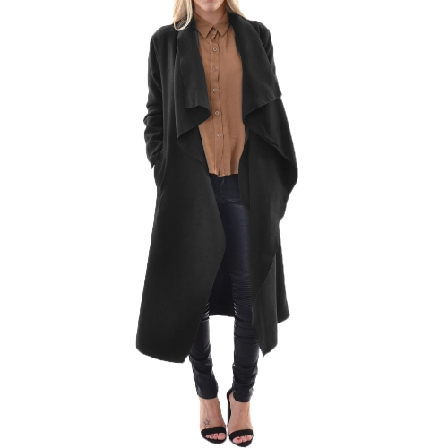 Moda mujer abrigo paño cascada longitud frontal abierto Cardigan abrigos