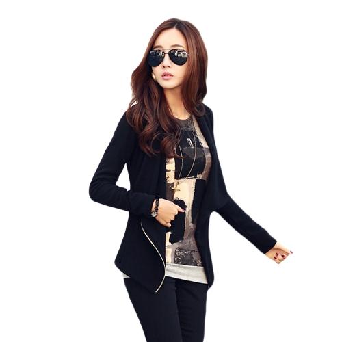 New Fashion Spring Autumn Korean Style Women Jacket Zip Front Splice Long Sleeve Side Pocket Coat