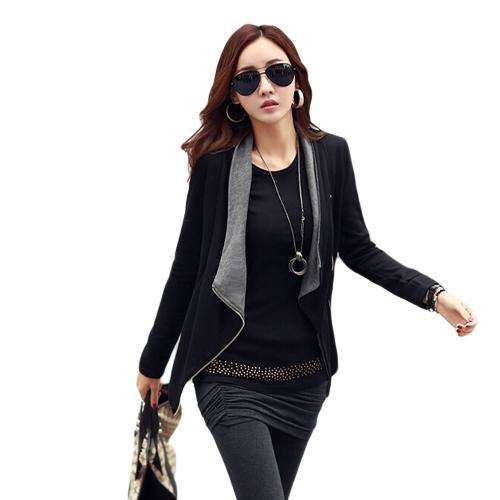New Fashion Spring Autumn Korean Style Women Jacket Zip Front Splice Long Sleeve Side Pocket Coat Black1/Black2/Gray