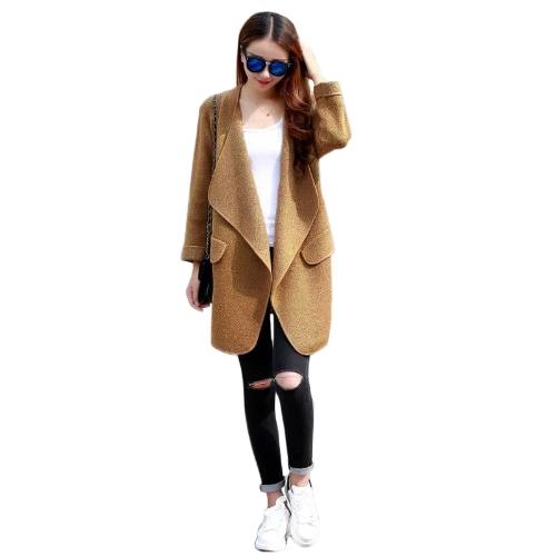 Fashion Women Loose Coat Open Front Shawl Collar Long Sleeve Cardigan Grey/Brown