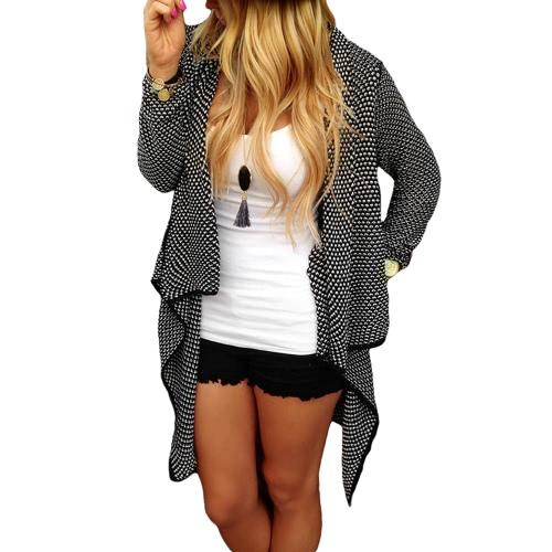 Nueva moda mujer de punto Cardigan cascada dobladillo asimétrico frontal abierto manga larga Casual chaqueta suéter negro/caqui
