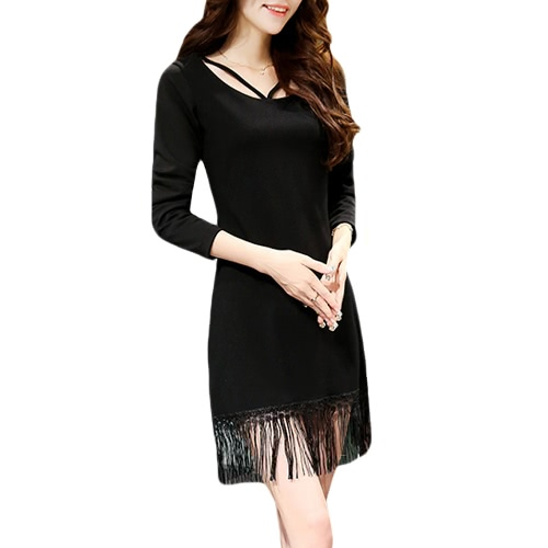 Sexy moda donna coreana Abito Strap Zipper nappa O-collo manica lunga vestito sottile nero