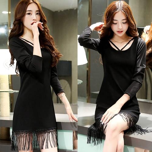 Mujeres coreanas de moda sexy vestido Correa cremallera borla manga larga O cuello delgado vestido negro