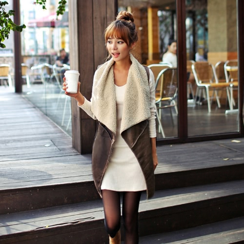 New Fashion Women Vest Coat Suede Faux Fur Lapel Sleeveless Fleece Long Waistcoat Jacket Outerwear Coffee
