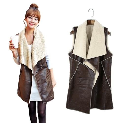 Nova moda mulheres colete casaco camurça peles artificiais lapela mangas velo colete longo casaco Outerwear café
