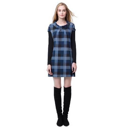 Moda Damska sukienka Okrągły dekolt Long Sleeve Kontrast Kolor Mini Sukienka Niebieski / Fioletowy