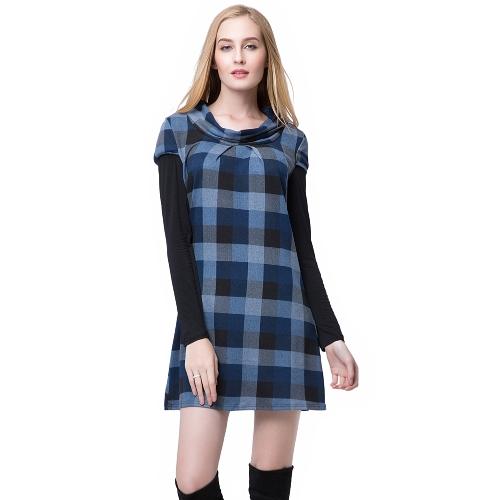 Moda mujer vestido Mini vestido de Color azul/púrpura de tela escocesa escote redondo manga larga contraste