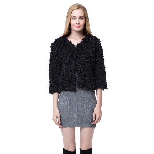 Nueva mujer invierno mullida capa Shaggy chaqueta de piel redonda cuello 3/4 mangas corchete abrigos blanco/negro