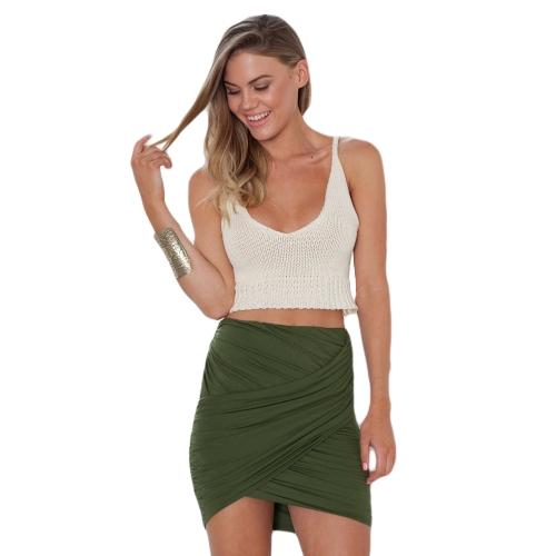 Nueva moda mujer falda doble estiramiento cintura envolver dobladillo asimétrico delantero elástico Clubwear Sexy Mini falda