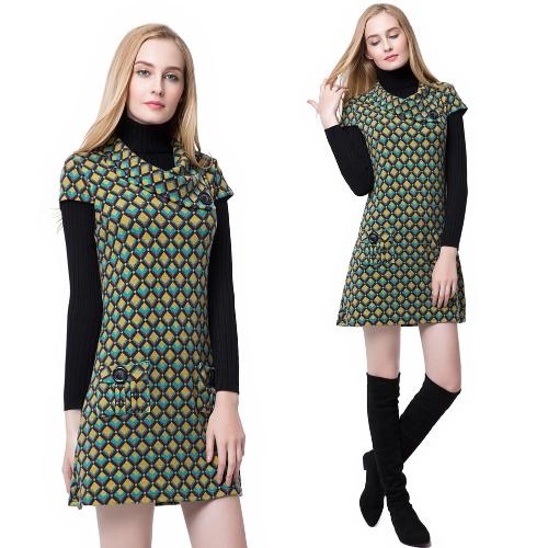 Nowa suknia kobiet Kontrast Plaid Shawl Collar Button Kieszenie Krótki Sleeve Mini Sukienka Zielony