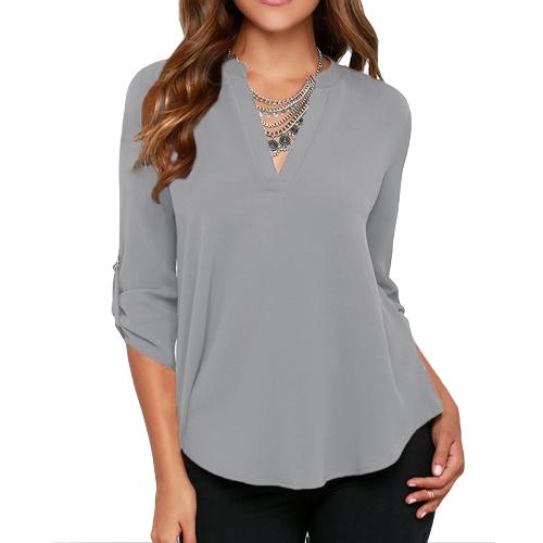Nuevo las mujeres blusa de Gasa V cuello ficha anillo en D manga larga camisa Casual superior gris/rojo de la sandía