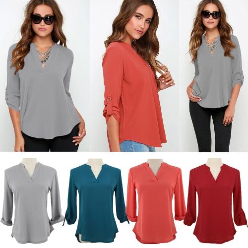 TOMTOP / Novas mulheres do Chiffon blusa V D-anel guia mangas compridas camisa Casual blusa gola