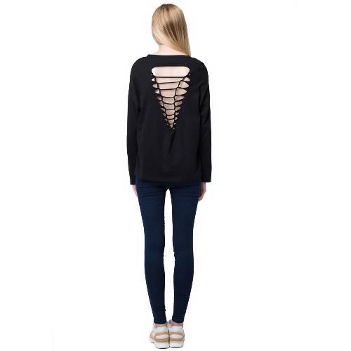 Moda donna Casual t-shirt cava fuori Back Long Sleeve Pullover nero/grigio/rosa