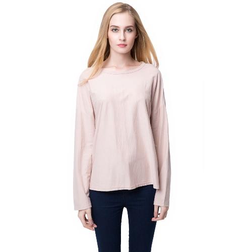 Moda mujer Casual camiseta hueco hacia fuera de largo manga suéter negro/gris/rosa