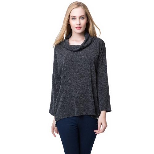 Europa mujeres camiseta Slouchy rodillo alto cuello cremallera lateral borde Irregular tes sueltas tapas de punto jersey