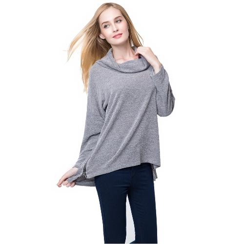 Europa mujeres camiseta Slouchy rodillo alto cuello cremallera lateral Irregular dobladillo suelto camisetas Tops de punto jersey