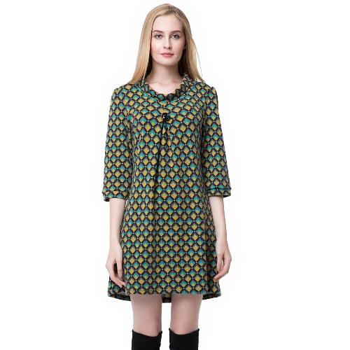 Moda mujer vestido de contraste botón decorativo cuadros tres cuartos manga Mini vestido verde