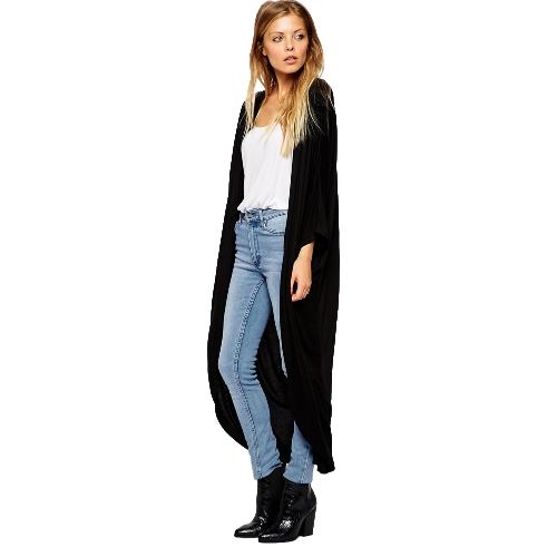 New Fashion Women Thin Cardigan Long Sleeve Loose Asymmetric Hem Long Maxi Kimono Black/Gray