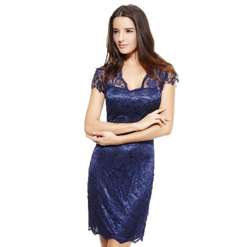 Nueva moda mujer vestido encaje Floral V escote manga corta-vestido Bodycon una pieza azul