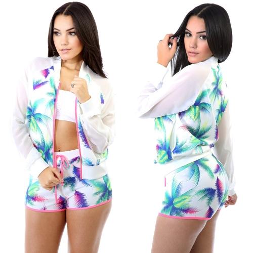 New Women Sportswear Two Pieces Leave Print Long Sleeves Zipper Top Drawstring Waist Shorts Sport Suit Twin Set White