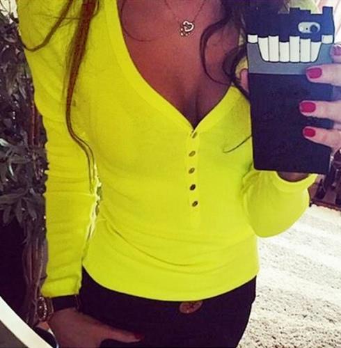 Moda mujer camiseta V cuello botón rápido del Metal elástico manga larga Casual Tops Slim Tee amarillo/blanco/rosa