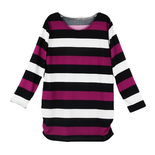 Fashion Women Long T-Shirt Stripe Round Neck Long Sleeve Ruched Hem Casual Top Blouse Rose