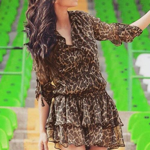 Moda mujeres de Gasa Mini leopardo descubierta cuello manga larga elástico de la cintura en capas vestido marrón