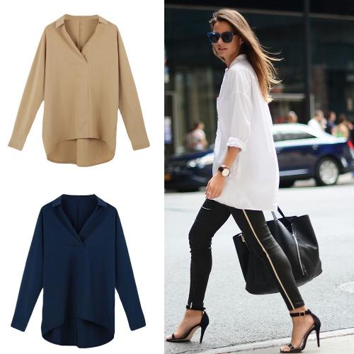 Новые моды женщин рубашку отложным воротником v-образным вырезом с длинным рукавом свободные блузки топ белый/темно синий/хаки фото