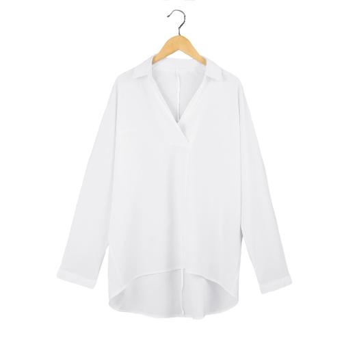 Nuevo moda mujer camisa descubierta cuello con cuello en v manga larga blusa suelta superior blanco/oscuro azul/de color caqui