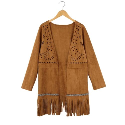 Fashion Women Faux Suede Jacket Open Front Hollow Out Tassel Fringe Long Sleeve Cardigan Coat Outerwear