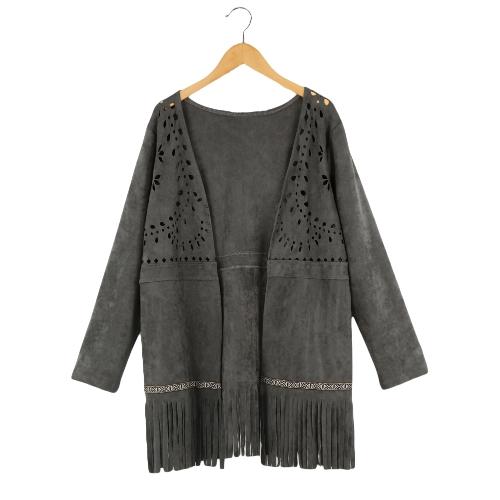 Moda mujer gamuza chaqueta abierta frontal salida hueco borla flecos manga larga chaqueta de punto Abrigos Coat