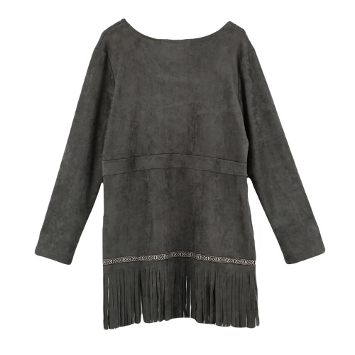 Fashion Women Faux Suede Jacket Open Front Hollow Out Tassel Fringe Long Sleeve Cardigan Coat Outerwear
