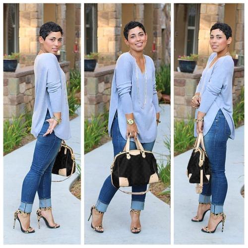 Nueva moda mujeres camiseta V escote lateral fracturas manga larga sólida Tops Casual Fit suelta azul
