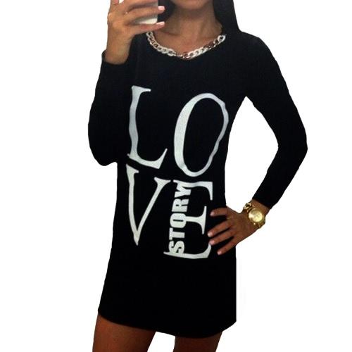 Мода женщин Футболка с длинными письмо печати длинный рукав круглый шею Повседневные платья мини-топы Tee серый/черный