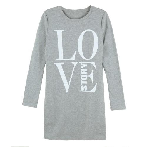 Moda mujer camiseta larga carta impresión de manga larga ronda cuello Mini vestido Casual Tops Tee gris/negro