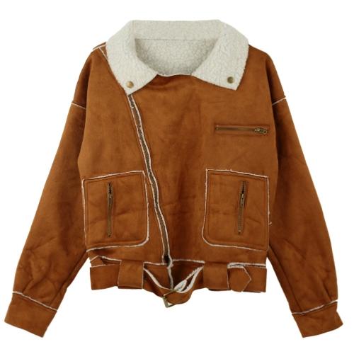 Winter Women Jacket Faux Suede Zipper Turn-down Collar Pockets Belt Outerwear Warm Parka Coat