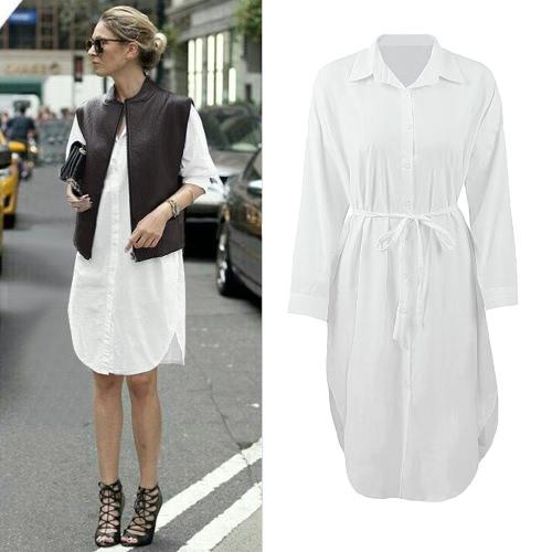 Mujeres camiseta vestido giro abajo cuello manga larga botón abertura lado aberturas Midi Casual Vestido gris/blanco