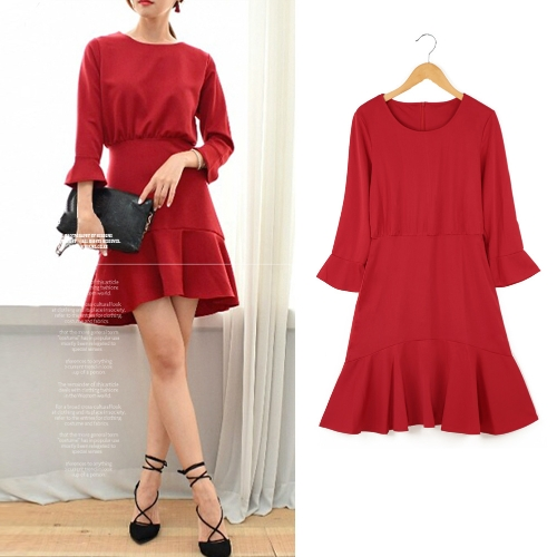 Las mujeres de moda Flare vestido redonda cuello 3/4 manga cremallera trasera Color sólido Mini vestido rojo/negro/gris