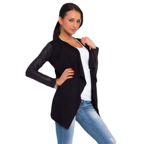 New Fashion Lady Jacket Patchwork PU Leather Long Sleeve Casual Stitching Coat Beige/Black/Purple