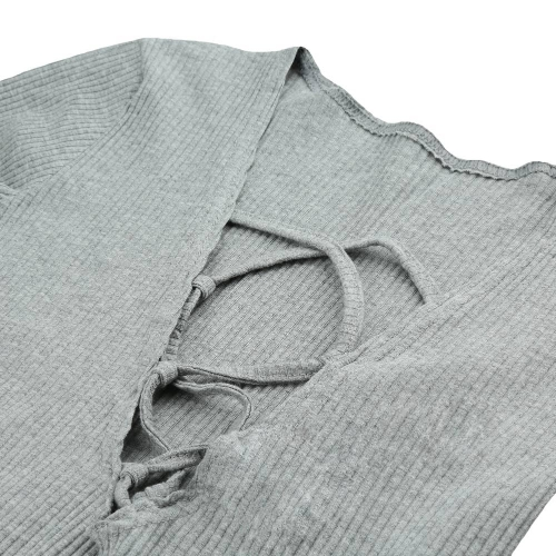 TOMTOP / Nuevas mujeres Sexy body de entrecruzamiento V profunda de cuello acanalado medias mono Bodycon mamelucos negro/gris