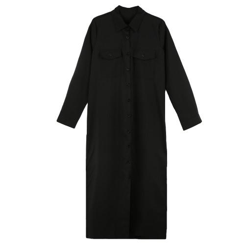 Neue Mode Damen Shirt Kleid Turn-Down-Kragen langarm Schaltflächen Taschen lässig locker einteilig