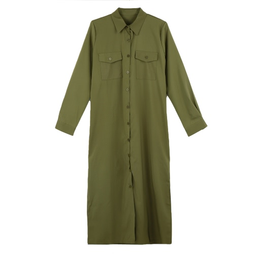 Nueva moda mujer camisa vestido vuelta abajo cuello manga larga botones bolsillos Casual suelta una pieza